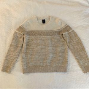 GAP Fair Isle Sweater in Tan White - Warm Cute